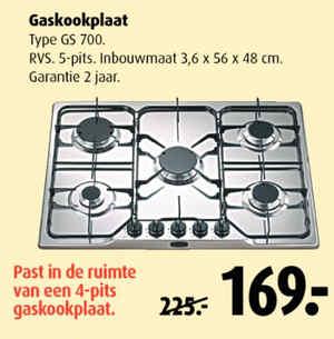Gaskookplaat 5 pits